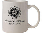 Wedding mugs, sunflower wedding favors, personalized ceramic mugs, wedding favors for guests, summer wedding, personalized coffee mug