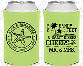 Beach Wedding Favors, Sandy Feet and Salty Kisses, Cheers to Mr and Mrs, Wedding, Summer Wedding Favors, Can Coolers (88)
