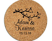 Fall wedding favors, wedding coasters, fall wedding ideas, personalized round cork coasters, 150 pieces