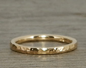 Hammered Gold Ring Recycled 14k Yellow Gold Wedding Band or Skinny Stackable Ring Ethical, EcoFriendly, Handmade, Made to Order