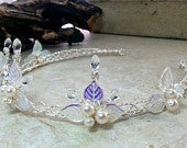 Crystal Princess Tiara Silver or Gold Wire Bohemian Fantasy Wedding Boho Leaf Flower Crown, Lothlorien Cosplay Circlet, Elven Headdress