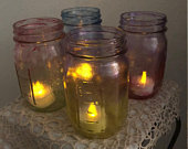 Patio Lights. Stained Glass Look.Hand Painted Ball Mason Jar. Set of Four.Four Battery Tea Lights Included.