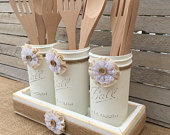 Set of three decorative chalk painted Mason Jars, in handcrafted wood display box with Wooden Utensils