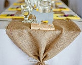 Burlap Table Runner with ties Wedding runner Holiday decorating Home decor