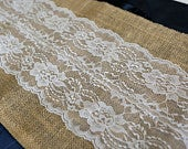 Burlap Lace Table Runner with a Variety of Lace Color Options. Great for Weddings and Other Special Events. Rustic and Chic.