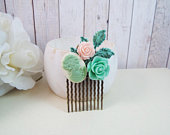 Mint Rose Cameo Pink Patina Flower Bridal Small Hair Comb Vintage Hair Accessory