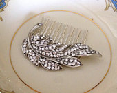 Crystal leaf hair comb, hair accessory, vintage wedding, crystal feather hair comb, Downton Abbey, woodland, bridesmaid gift, hair jewelry