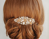 Rose Gold Bridal Hair Comb, Crystal Wedding Hair Comb, Rose Flower Hair Clip, Swarovski Pearl Hairpiece, Vintage Style Hair Jewelry, ROSA