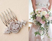 Bridal Hair Pins Small Bridal Comb Art Deco Crystal Headpiece Wedding Hair Accessories flower leaf cubic zirconia hair piece Mai3 Rose Gold