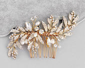 Bridal Hair Comb, Gold Bridal Hair Comb, Crystals Rhinestones and Pearls Bridal Hair Comb, Bridal Accessories, Wedding Hair Jewelry