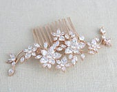 Rose Gold hair comb Bridal hair comb Rose gold headpiece Crystal hair comb Swarovski hair comb Wedding headpiece Hair accessories LILY