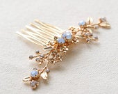 Something blue hair comb, Bridal hair accessories, Blue rhinestone with gold leaf