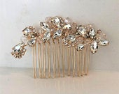 Classic gold or silver or rose gold rhinestone hair comb Wedding hair comb Bridal Hair Comb Bridal Headpiece Rhinestone Accessorie