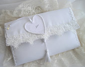 Satin Bridal Clutch Purse Customized Heart Fits Your Smartphone More One Of A Kind White Lace Tassel Handmade And Designed by handcraftusa