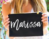 Makeup Bag, Bridesmaid Gifts, Personalized Cosmetic Bag, Bachelorette Gifts, Wedding Day Gifts, Swimsuit Bag, Small Clutch