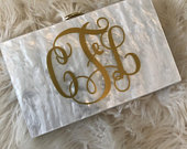 Monogrammed Acrylic Clutch, Bride, Wedding, Purse, Personalized Gold, Pearl Clutch, Bridesmaids, Bridal Shower. FREE SHIPPING