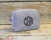Monogrammed Navy Seersucker Cosmetic Bag, Personalized Makeup Case Bridesmaid, Wedding, Birthday, Graduation