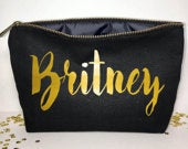Black Personalized Makeup bag Wedding gift cosmetic bag zipper pouches Birthday gift makeup bag Canvas bags for girls
