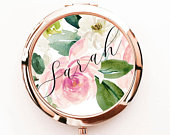 Floral Bridesmaid Gift Personalized Mirror Compacts Women Personalized Gifts for Her Rose Gold Gift Rose Gold Bridesmaid Gifts (EB3166SPFL)