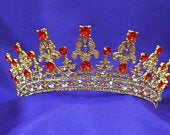Queen Princess Gold Red Ruby Wedding Bridal Prom Tiara Crown