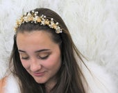 Gold Spring Garden Tiara with Stunning Hand Wired Beaded Swarovski Rhinestone, Enamel Flowers with Glass Beads and Pearl Bead Accents.