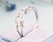 Vintage wedding band Blue Topaz diamond women 14k white Gold unique round cut Antique wedding ring jewelry Promise Anniversary gift for her