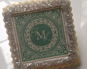 custom cookie favors champagne and green 1 dozen