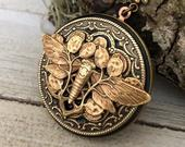 Moth vintage style locket necklace Vintage Style, Anniversary/Bridesmaid gift/Birthday/Mom/wedding gift/Personalized/Custom Photo Locket.