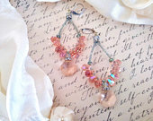 Long Bridal Champagne Blush Crystal Earrings, Peach Pink Wedding Jewelry Gift for Mother of the Bride Bridesmaid