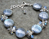 Labradorite Bracelet, Gray Gemstone Bracelet, Sterling Silver, Swarovski Crystal Dangles, Original Unique Wedding Jewelry Mother Gift