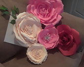 Set of Five Paper Flowers,Large Paper Flowers, Assorted Colors Paper Flowers.Wedding Flowers.