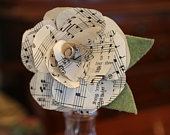 Vintage Sheet Music Paper Flowers, Musical Gift, Song Sheet Music Flowers, Bouquet of Roses for Her, Handmade Flowers, Vintage Wedding