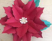 Paper Flower Template, Poinsettias, SVG and PDF, DIY Paper Flowers, Christmas Decoration