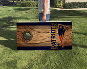 Custom New England Patriots Cornhole Boards Set with Hinges Carry Handle Lightweight Corn Hole Boards Corn Toss Game Bag Toss NFL
