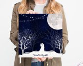 Winter wedding guest book, large guest book starry night guest book with moon string lights and couple night sky snow polaroid guest book