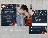 Rustic Photo Fall Wedding Invitation,Navy Blue,Burgundy,Blush,Roses,Fairy Lights,Navy Barn Wood,Custom Photo,Shimmery,Printed Invitation
