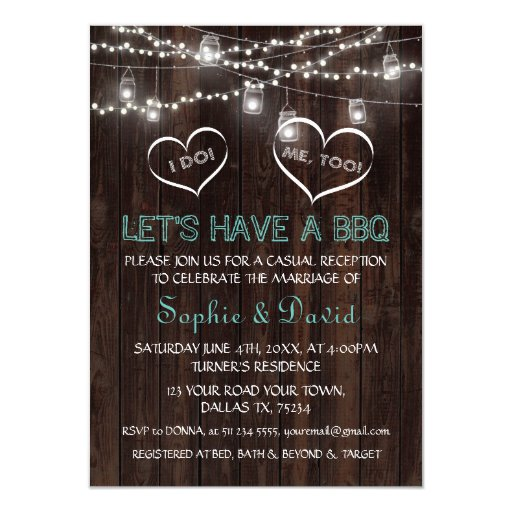 Vintage String Lights Old Barn I DO BBQ Invitation