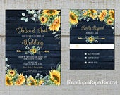 Rustic Navy Sunflower Wedding Invitations,Sunflowers,Eucalyptus,Floral Arrow,Navy Barn Wood,Gold Print,Shimmery,Printed Invitation
