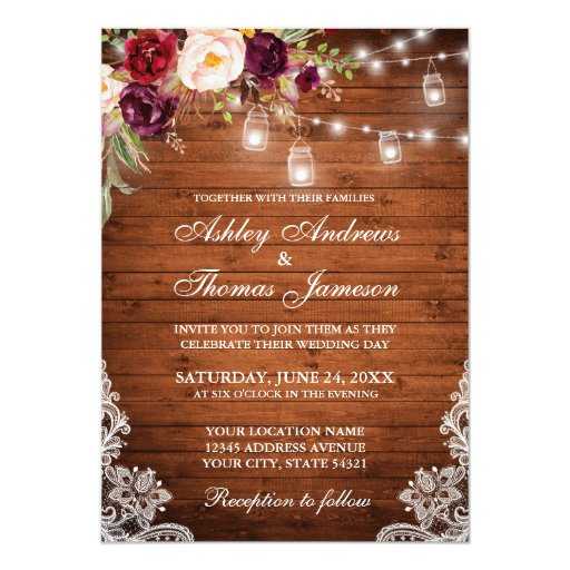 Rustic Wedding Wood Lights Jars Lace Floral Invitation