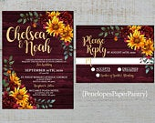 Rustic Sunflower Fall Wedding Invitation,Sunflowers,Burgundy Roses,Barn Wood,Gold Print,Shimmery,Printed Invitation,Wedding Set