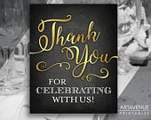 Chalkboard Gold Wedding Sign Printables Thank You For Celebrating With Us Digital Downloads Chalk Gold Wedding Sign Printables SCCG89