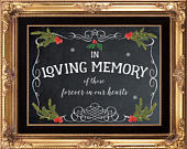 in loving memory sign, winter wedding sign, christmas wedding sign, chalkboard wedding sign, memory wedding sign, 8x10, YOU PRINT