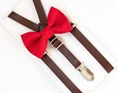 Bow Tie Leather Suspenders, Red Bow Tie,Leather Suspenders, Ring Bearer Outfit, Wedding Suspenders, Red Polka Dot Bow Tie, Boys Bow Tie