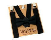 Black Bow Tie and Suspenders Set PERFECT for Ring Bearer or Page Boy Outfit, Cake Smash, Wedding, Costume, BABY ADULT Sizes