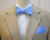 Mens Pocket Square Bow Tie, pool blue gingham, wedding party wear, groomsmen gift, groom bow tie set, mens gift set, mens accessory