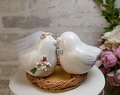 Love Bird Wedding Cake Topper with Tulle Veil,Bouquet and Bow Tie,Nest Engraved with Names and Wedding Date,Handmade Pottery Keepsake Gift