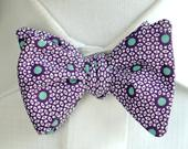 Purple African Print Bow Tie, Self Tie or Pre Tied Bowtie, Mint Green Polka Dots, Barn Wedding, Gift for Groom