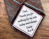 GIFTS FOR HIM Wedding Tie Patch Father of Bride, Father of the Groom, Groom Patch 2 Wide Patch, Sew or Iron, Skinny Tie, Choose Font