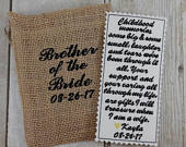 Iron on tie patch for brother of the bride wedding memento from bride to brother Custom embroidery wedding gift Wedding keepsake D1