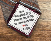 FOR THE GROOM Groom Tie Patch, Personalized Wedding, 2 Wide Patch, Sew On, Iron On, Wedding Tie Patch, Groom Gifts, Gifts for Him